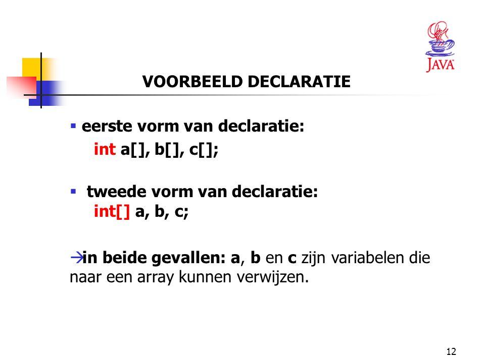 VOORBEELD DECLARATIE eerste vorm van declaratie: int a[], b[], c[]; tweede vorm van declaratie: int[] a, b, c;